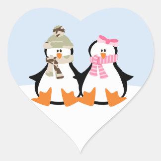 Military Penguin Couple Heart Sticker