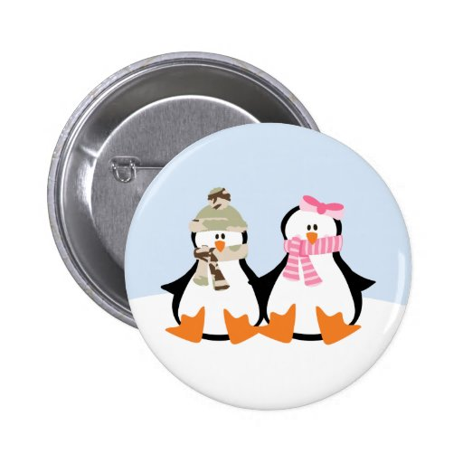 Military Penguin Couple Pinback Button