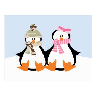 Military Penguin Couple Postcard