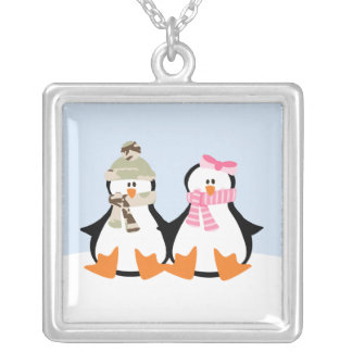 Military Penguin Couple Silver Plated Necklace