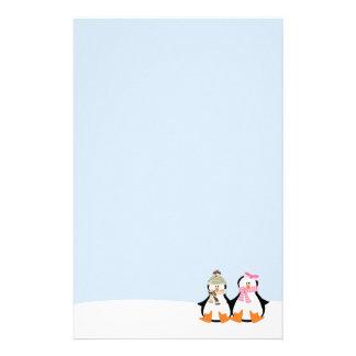 Military Penguin Couple Stationery