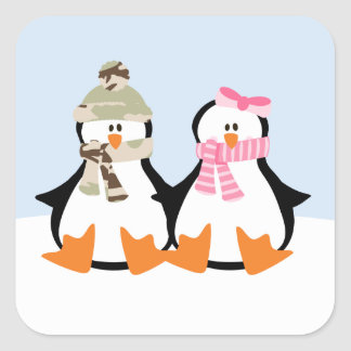 Military Penguin Couple Stickers