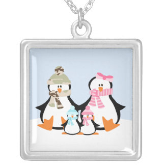 Military Penguin Family Silver Plated Necklace