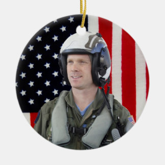 Military Photo Double-Sided Ceramic Round Christmas Ornament