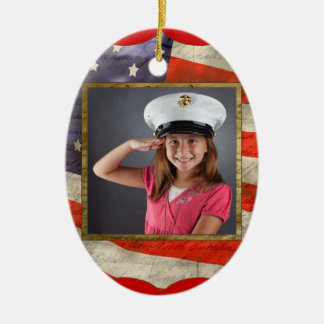 Military Photo Double-Sided Oval Ceramic Christmas Ornament