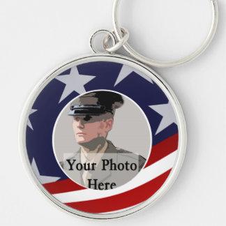 Military Photo Keepsake Silver-Colored Round Keychain