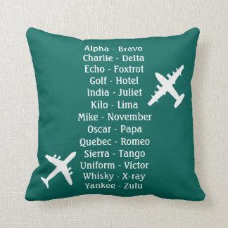 Military Pilot Airplane Alphabet Flying Lesson Throw Pillow