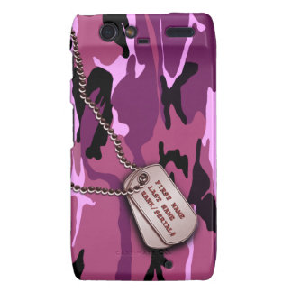 Military Pink Camo w/ Dog Tag Droid RAZR Cases