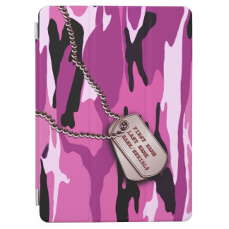 Military Pink Camo w Dog Tag iPad Air Cover