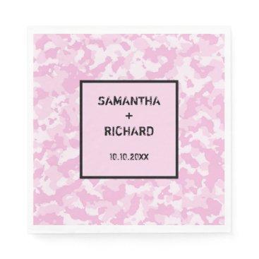 Military Pink Camo Wedding Napkin
