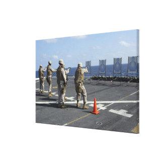 Military policemen train with the Berretta M9 Canvas Print