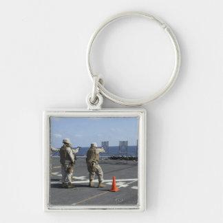 Military policemen train with the Berretta M9 Silver-Colored Square Keychain