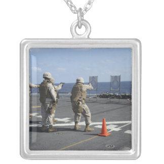 Military policemen train with the Berretta M9 Square Pendant Necklace