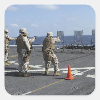 Military policemen train with the Berretta M9 Square Sticker
