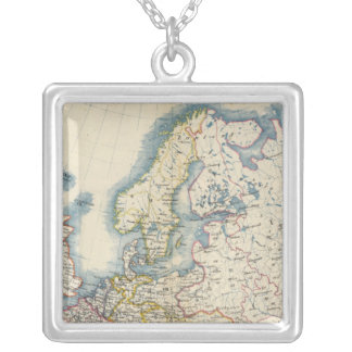 Military Political Map of Europe Silver Plated Necklace