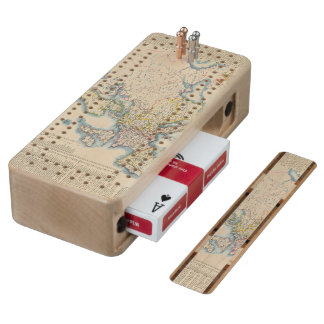 Military Political Map of Europe Wood Cribbage Board