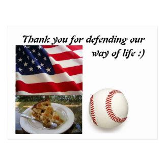Military Postcard USA FLAG Thank You
