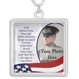 Military Prayer Photo Square Pendant Necklace