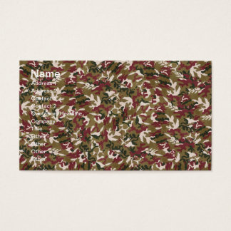 Military Red Green Brown Camouflage Pattern Business Card