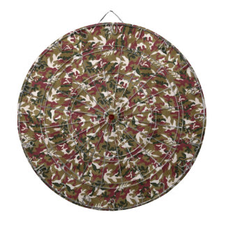 Military Red Green Brown Camouflage Pattern Dartboard With Darts