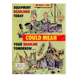 Military Repairs Postcard