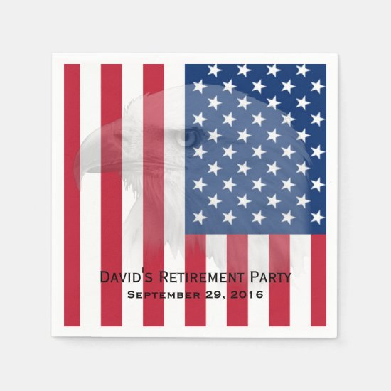 Military Retirement Bald Eagle & American Flag Paper Napkin