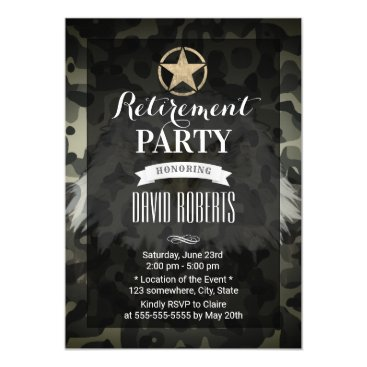 Military Retirement Gold Army Star Camouflage Invitation