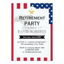 Military Retirement Gold Star Eagle & US Flag Invitation