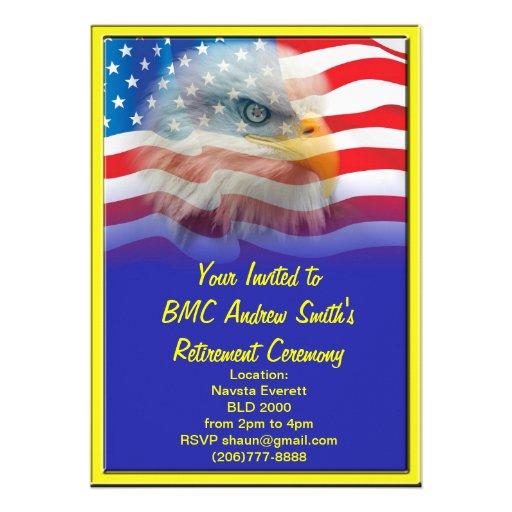 Military retirement custom invitations