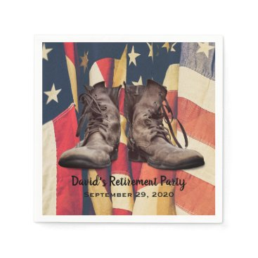 Military Retirement Old Boots American Flag Napkin
