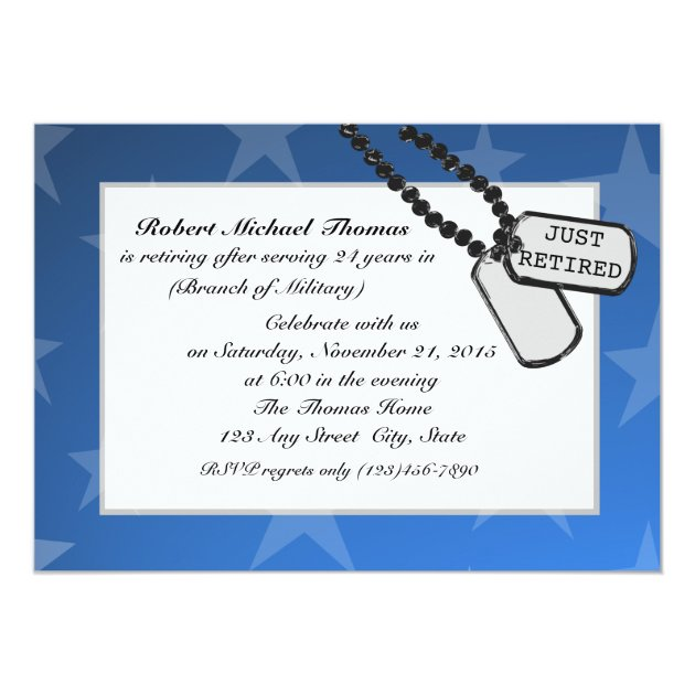Military Retirement Party Blue Card
