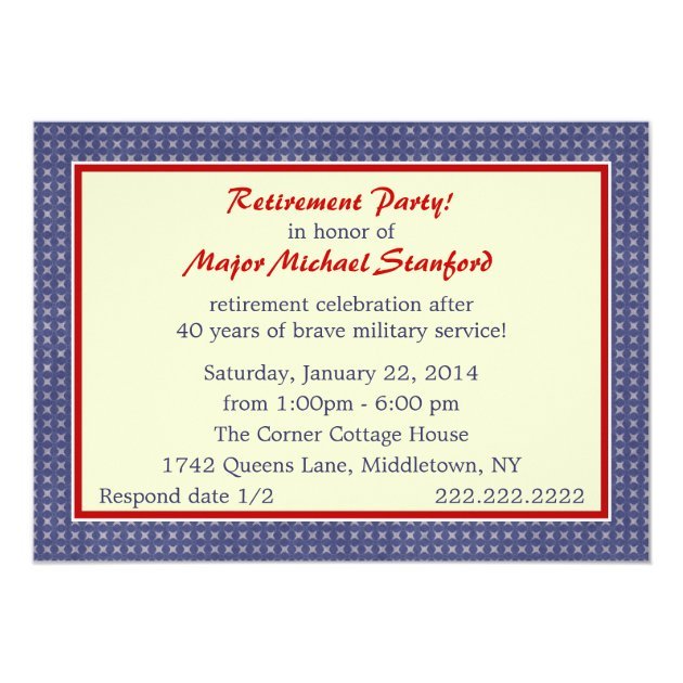 Military Retirement Stars Party Invitation (back side)