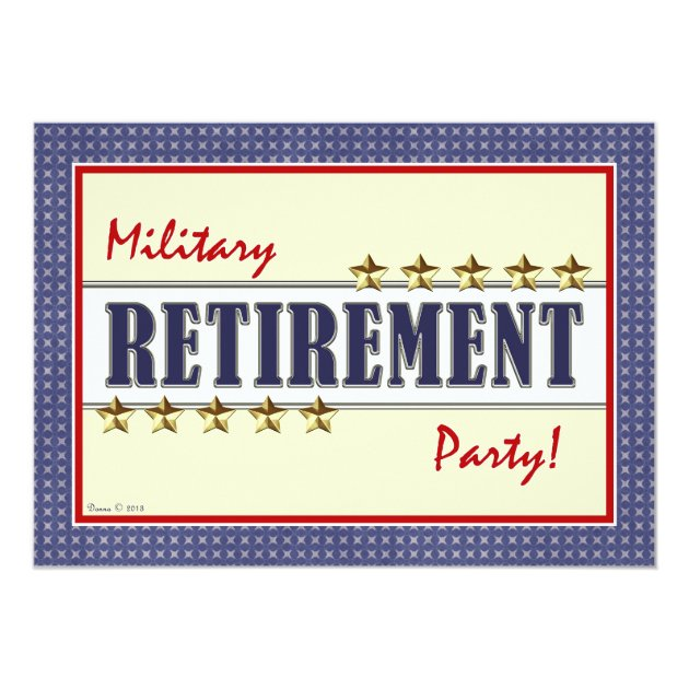 Military Retirement Stars Party Invitation (front side)