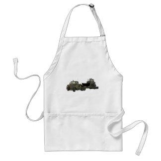 Military Semi Bulldozer Flatbed Cartoon Adult Apron