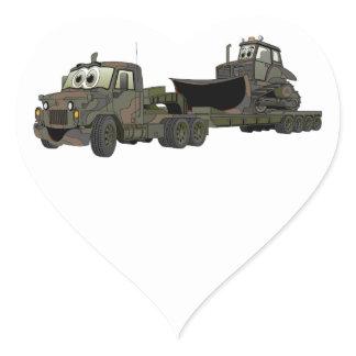 Military Semi Bulldozer Flatbed Cartoon Heart Sticker