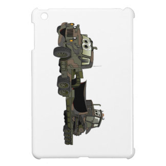 Military Semi Bulldozer Flatbed Cartoon iPad Mini Cover