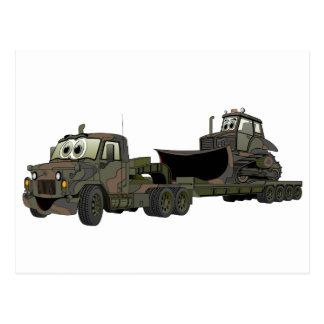 Military Semi Bulldozer Flatbed Cartoon Post Cards