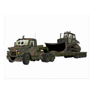 Military Semi Bulldozer Flatbed Cartoon Postcard