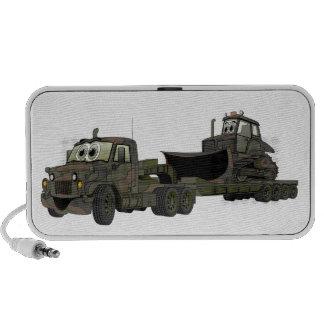 Military Semi Bulldozer Flatbed Cartoon Travel Speakers