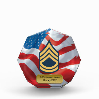 Military SFC Promotion Octagon Acrylic Award