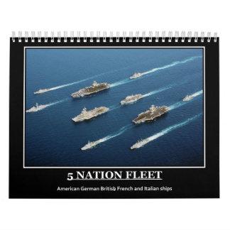 Military Ships Planes emblems Wall Calendar