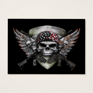 Military Skull With Crossed Gun Special Warfare Business Card