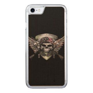 Military Skull With Crossed Gun Special Warfare Carved iPhone 8/7 Case