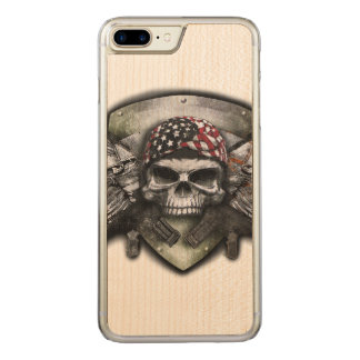 Military Skull With Crossed Gun Special Warfare Carved iPhone 8 Plus/7 Plus Case