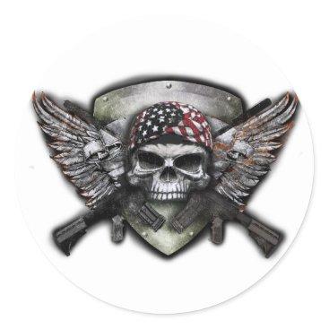 Military Skull With Crossed Gun Special Warfare Classic Round Sticker