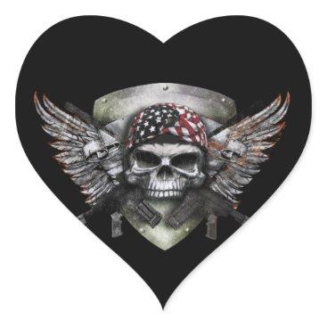 Military Skull With Crossed Gun Special Warfare Heart Sticker