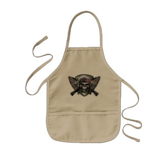 Military Skull With Crossed Gun Special Warfare Kids' Apron