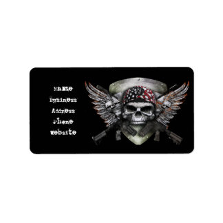 Military Skull With Crossed Gun Special Warfare Label