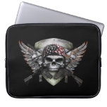 Military Skull With Crossed Gun Special Warfare Laptop Sleeve