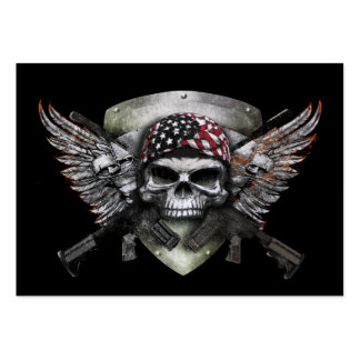 Military Skull With Crossed Gun Special Warfare Large Business Card